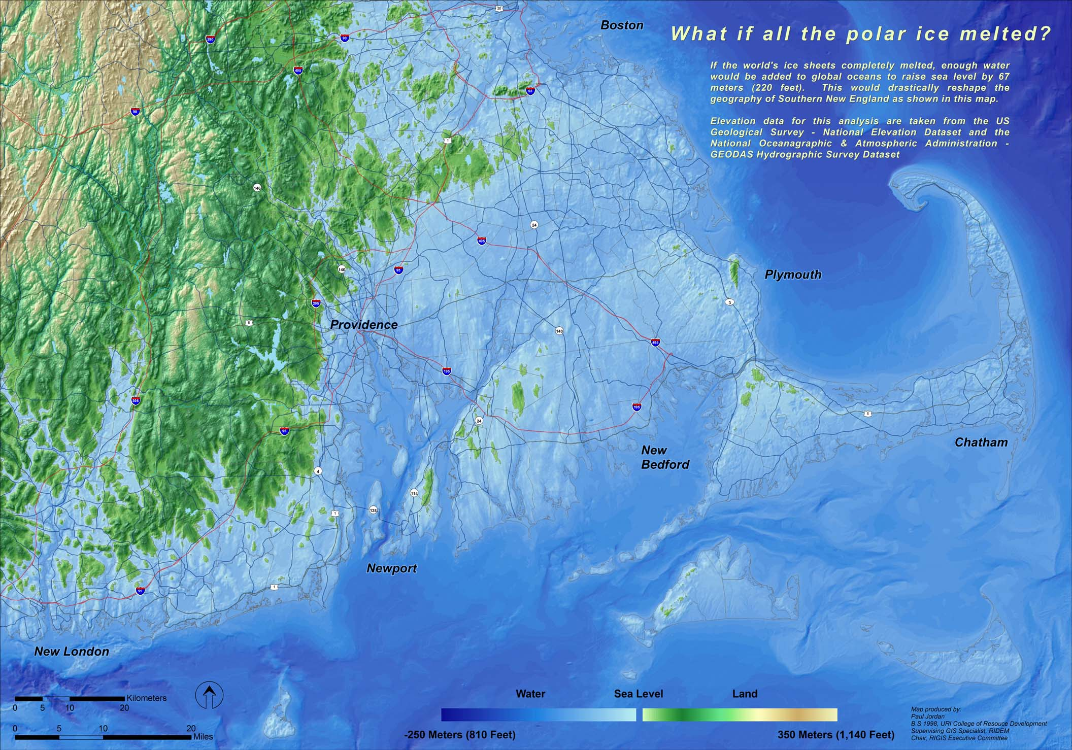 Sea Level Rise And Rhode Islands Climate Challenge - Projected sea level rise map